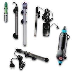 Diferentes tipos de calentadores y termostatos para peceras tropicales. Es importante controlar la temperatura agua peces tropicales acuario