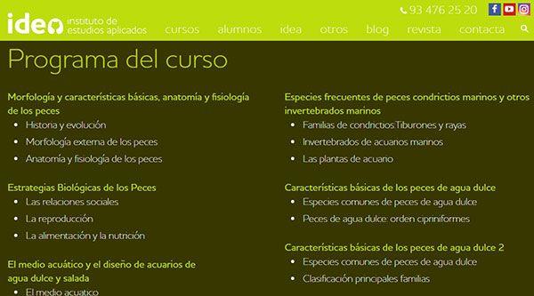 Curso de especialista en Acuariofilia en Barcelona de Idea