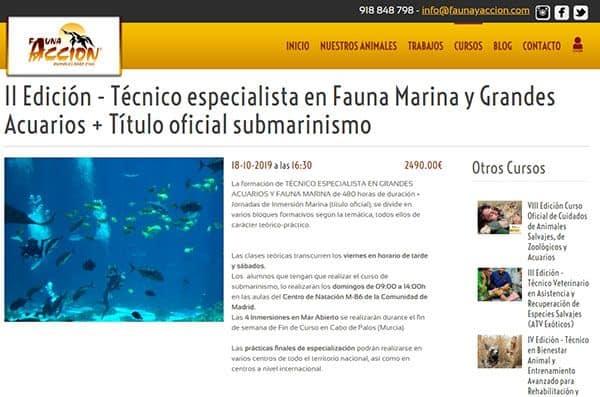 Fauna y Acción - AT Formación: Técnico especialista en fauna marina y grandes acuarios en Madrid proporciona el conocimiento necesario para desarrollar profesionalmente el trabajo con fauna marina salvaje