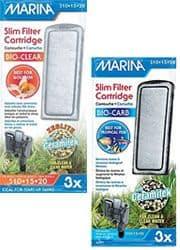 El sistema de filtración Marina Slim incluye los cartuchos filtrantes Bio-Carb y Bio-Clear
