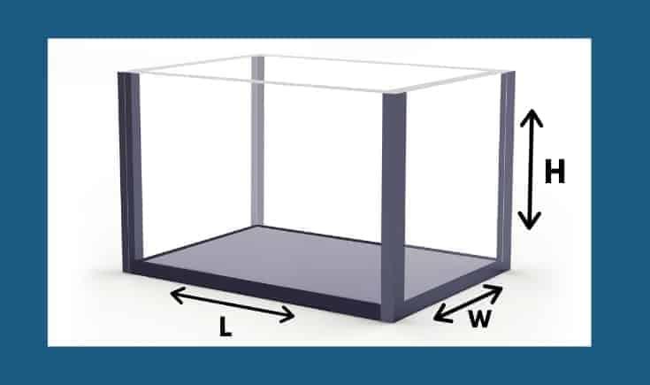 Vector de acuario rectangular con signos dimensionales.