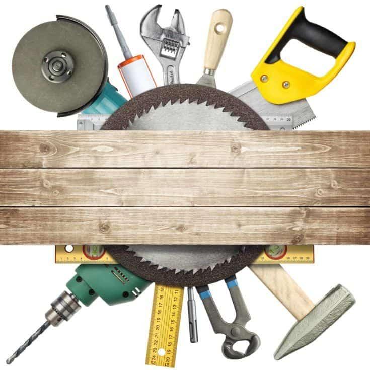 Carpintería, collage de herramientas de hardware de construcción.