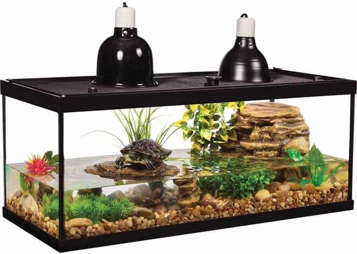 Tetra Aquatic Turtle Deluxe Kit 20 galones, acuario con filtro y lámparas de calefacción